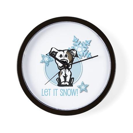 Let it Snow Pit Bull Wall Clock