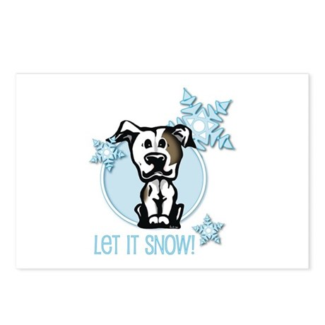 Let it Snow Pit Bull Postcards (Package of 8)