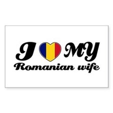 I love my Romanian wife Rectangle Decal