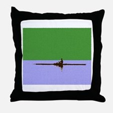 ROWER GREEN BLUE PAINTED Throw Pillow
