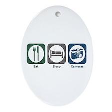 Eat Sleep Cameras Oval Ornament