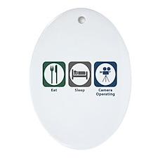 Eat Sleep Camera Operating Oval Ornament