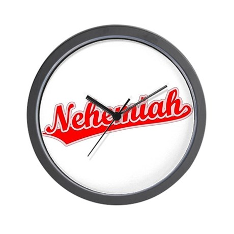 Retro Nehemiah (Red) Wall Clock