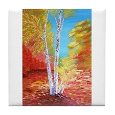 Autumn Birch Tile Coaster