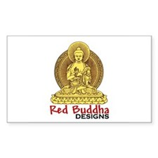 Classic Red Buddha Logo Rectangle Decal