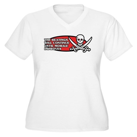 Beatings will Continue Women's Plus Size V-Neck T-