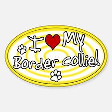 Hypno I Love My Border Collie Oval Sticker Ylw