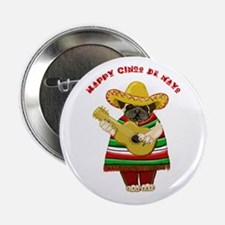 "Cinco de Mayo Pug 2.25"" Button"
