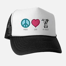 Peace Love & Pit Bulls Trucker Hat