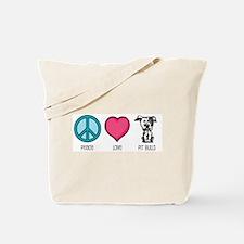 Peace Love & Pit Bulls Tote Bag