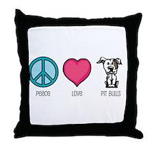 Peace Love & Pit Bulls Throw Pillow