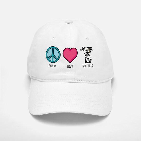 Peace Love & Pit Bulls Baseball Baseball Cap
