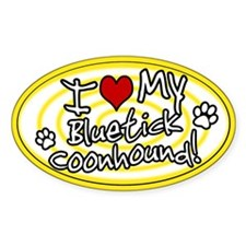 Hypno I Love My Bluetick Coonhound Sticker Ylw