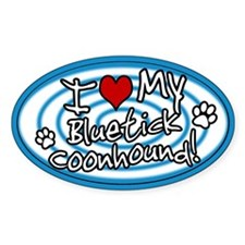 Hypno I Love My Bluetick Coonhound Sticker Blue
