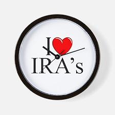 """""""I Love (Heart) IRA's"""" Wall Clock"""