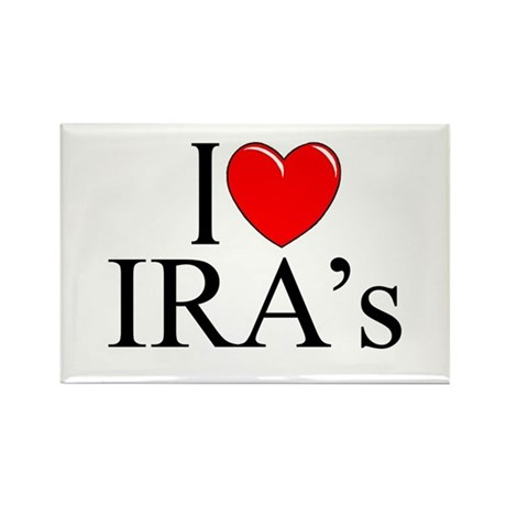 """I Love (Heart) IRA's"" Rectangle Magnet"