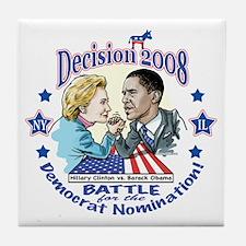 Hillary vs Obama 2008 Tile Coaster