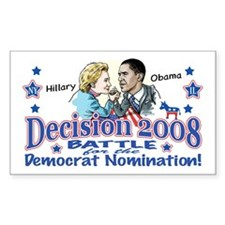 Hillary vs Obama 2008 Rectangle Decal