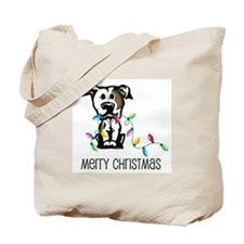 Pit Bull Christmas Lights Tote Bag