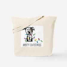 Pit Bull Christmas Lights Tote Bag