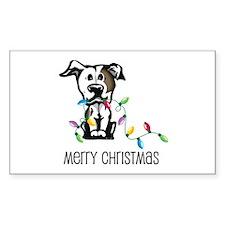 Pit Bull Christmas Lights Rectangle Decal