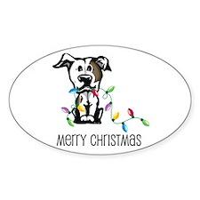 Pit Bull Christmas Lights Oval Decal