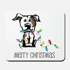 Pit Bull Christmas Lights Mousepad