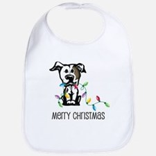 Pit Bull Christmas Lights Bib