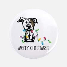 "Pit Bull Christmas Lights 3.5"" Button"