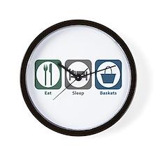 Eat Sleep Baskets Wall Clock