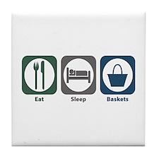 Eat Sleep Baskets Tile Coaster