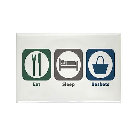 Eat Sleep Baskets Rectangle Magnet