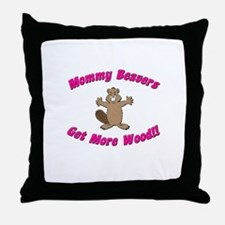Mommy Beavers Get More Wood Throw Pillow