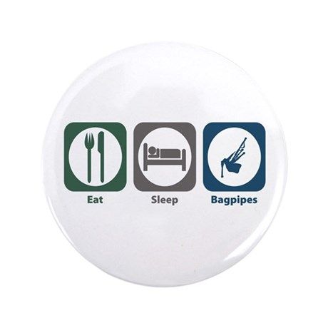 """Eat Sleep Bagpipes 3.5"""" Button (100 pack)"""