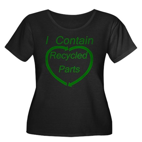 Recyled Parts Women's Plus Size Scoop Neck Dark T-