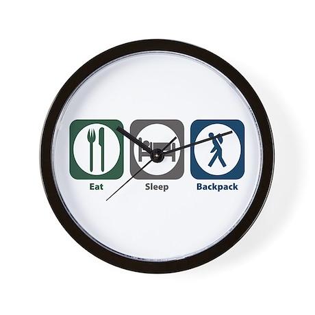 Eat Sleep Backpack Wall Clock