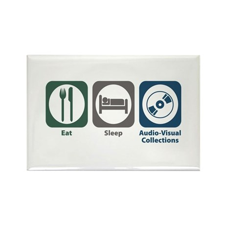 Eat Sleep Audio-Visual Collections Rectangle Magne