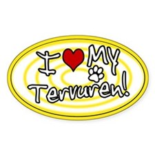 Hypno I Love My Tervuren Oval Sticker Ylw