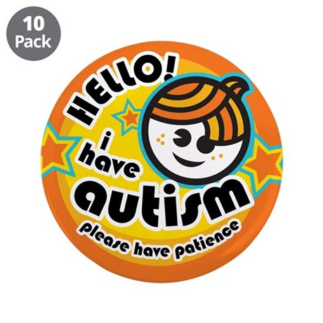 "Hello-Autism (Boy1) 3.5"" Button (10 pack)"