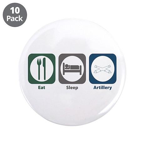 """Eat Sleep Artillery 3.5"""" Button (10 pack)"""