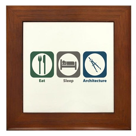 Eat Sleep Architecture Framed Tile