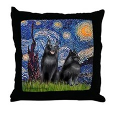 Starry / Schipperke Pair Throw Pillow