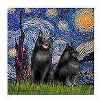 Starry / Schipperke Pair Tile Coaster