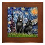 Starry / Schipperke Pair Framed Tile