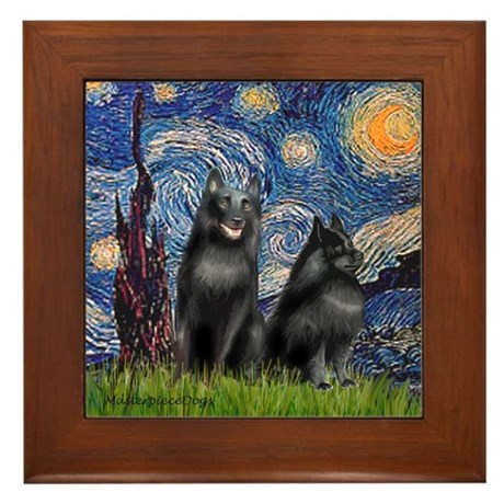 Starry / Schipperke Pair Framed Tile
