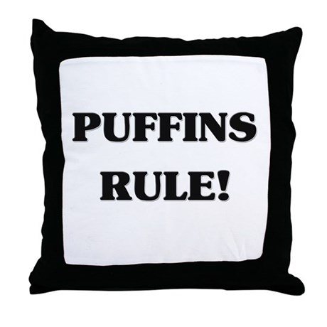 Puffins Rule Throw Pillow