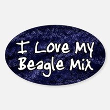 Funky Love Beagle Mix Oval Decal
