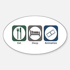 Eat Sleep Animation Oval Decal