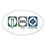 Eat Sleep Anesthesiology Oval Sticker (10 pk)