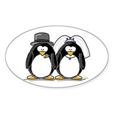 Bride and Groom Penguins Oval Decal